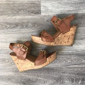 Mossimo Supply Co brown cork wedge sandals 9